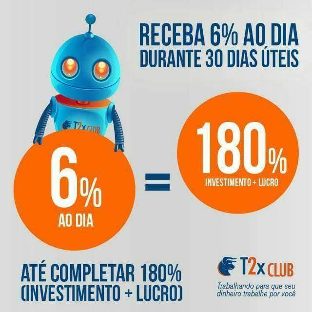 T2xClub® 6% ao dia 💰 RS